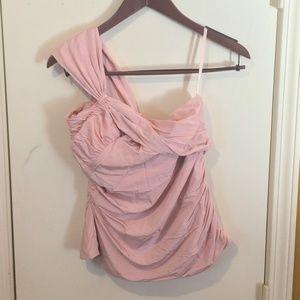 L.A.M.B. women's M rose smoke ruffle, twist blouse